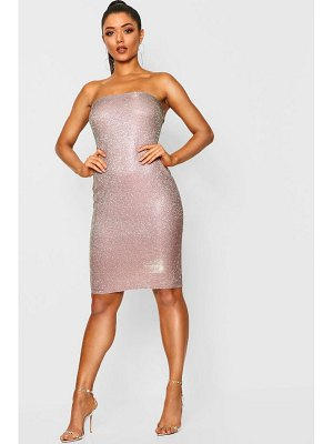 Boohoo Metallic Bandeau Midi Dress