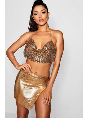 Boohoo Metallic Chain Open Side Mini Skirt