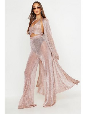 Boohoo Metallic Knit Long Line Cardigan