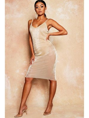 Boohoo Metallic Mesh Sheer Bodycon Midi Dress