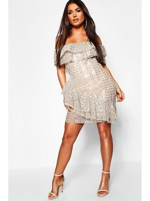 Boohoo Metallic Pleated Off The Shoulder Frill Dress