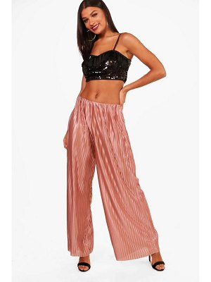 Boohoo Metallic Pleated Wide Leg Trouser
