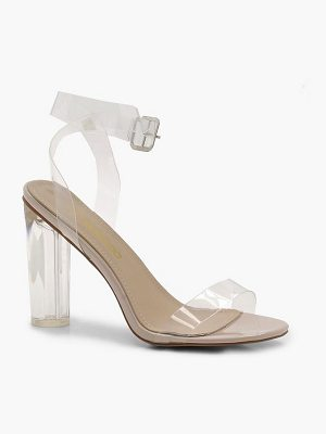 Boohoo Clear Heel and Strap Block Heels