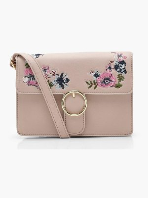 Boohoo Mia Floral Embroidery Circle Fasten Cross Body