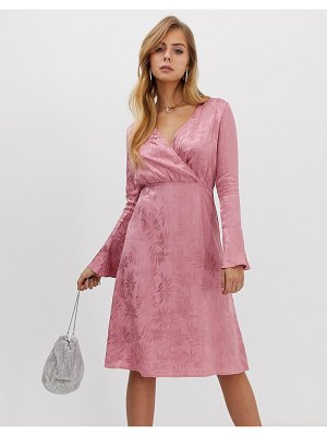 Boohoo midi wrap dress with flare sleeve in pink jacquard satin