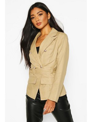 Boohoo Military Detail Belted Twill Blazer