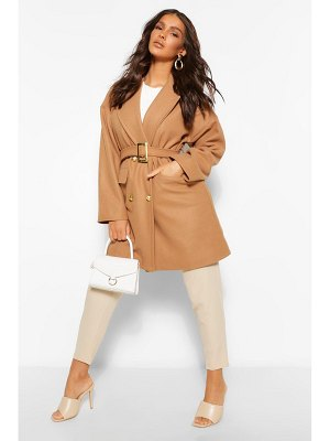 Boohoo Military Detail Belted Wool Look Coat
