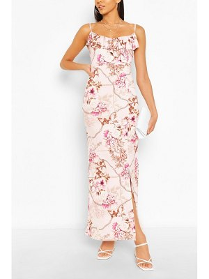 Boohoo Mix Print Ruffle Maxi Dress