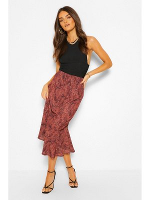 Boohoo Mixed Animal Print Drop Hem Midi Skirt