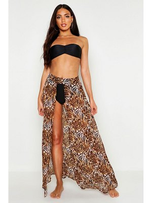 Boohoo Mixed Animal Print Maxi Beach Skirt