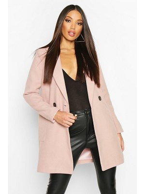 Boohoo Mock Horn Button Wool Look Coat