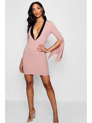 Boohoo Blazer Contrast Cape Sleeve Bodycon Dress