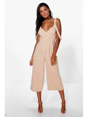 Boohoo Drape Shoulder Jumpsuit
