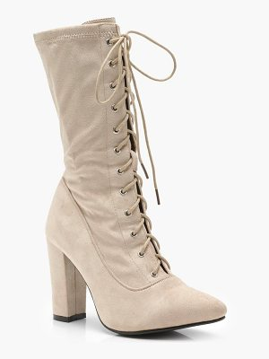BOOHOO Molly Lace Up Block Heel Sock Boots