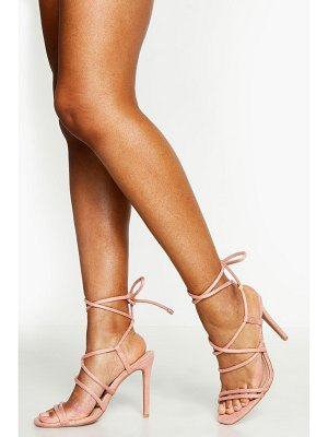 Boohoo Multi Strap Wrap Tie Heeled Sandals
