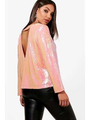 BOOHOO Nala Sequin Open Back Blouse