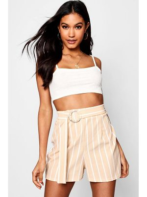 Boohoo Striped Tie Belt Shorts