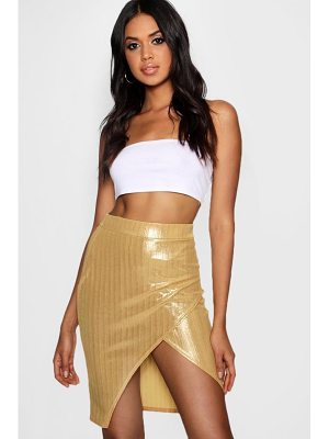 Boohoo Naomi Metallic Wrap Mini Skirt