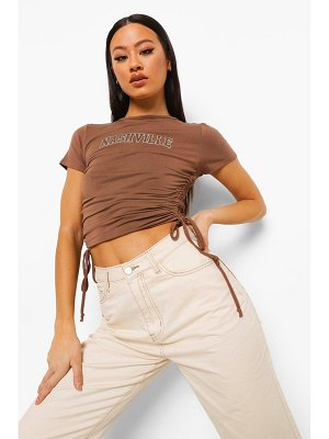 Boohoo Nashville Ruched Side Crop T-Shirt