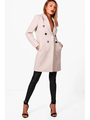 BOOHOO Natalie Double Breasted Wool Look Coat