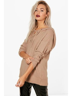Boohoo Lace Up Soft Knit Sweater