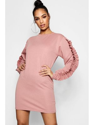 BOOHOO Natasha Tonal Ruffle Sleeve Sweat Dress