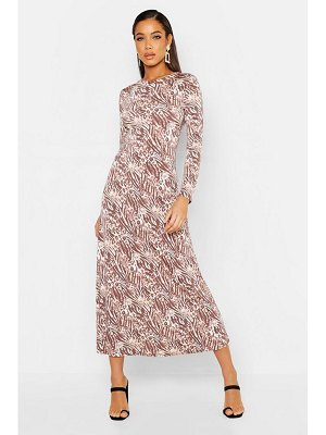 Boohoo Neutral Animal Print Asymetric Midi Skater Dress