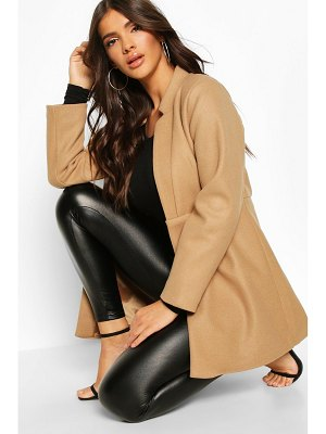Boohoo Notch Neck Edge To Edge Wool Look Coat