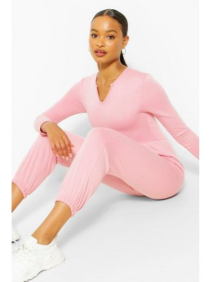 Boohoo Notch Neck Loopback Long Sleeve Sweat Jumpsuit