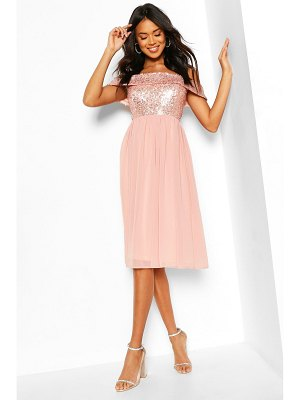 Boohoo Bridesmaid Occasion Sequin Off The Shoulder Midi Dress