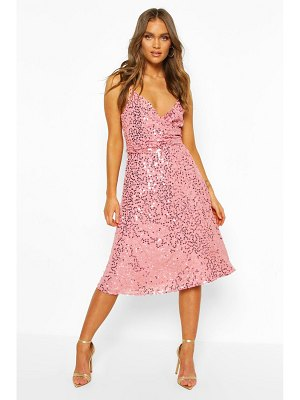 Boohoo Bridesmaid Occasion Sequin Detail Midi Dress