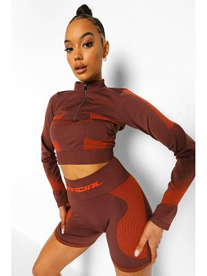 Boohoo Ofcl Seamfree Contour Extreme Crop Zip Up Top