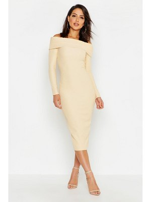 Boohoo Off Shoulder Fold Over Rib Bodycon Midi Dress