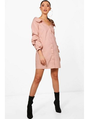 Boohoo Off Shoulder Ruched Sleeve Shift Dress
