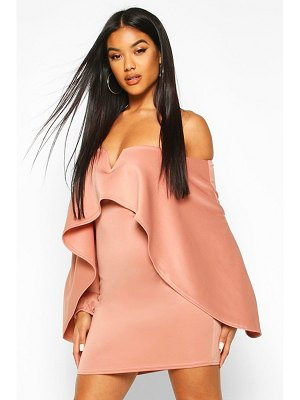 Boohoo Off The Shoulder Cape Sleeve Mini Dress