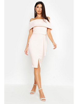 Boohoo Off The Shoulder Fold Over Split Midi Bodycon Dress