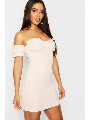 Boohoo Off the Shoulder Frill Detail Bodycon Dress