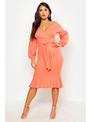 Boohoo Off The Shoulder Frill Hem Midi Dress