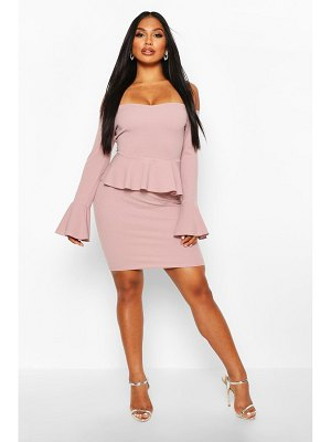 Boohoo Off The Shoulder Peplum Mini Dress