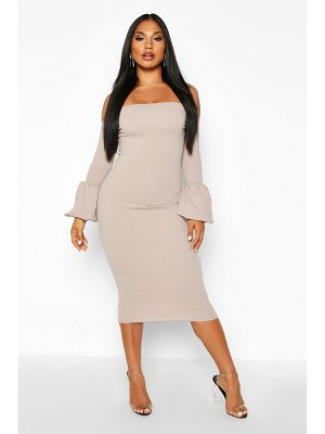 Boohoo Off The Shoulder Puff Sleeve Midi Dress