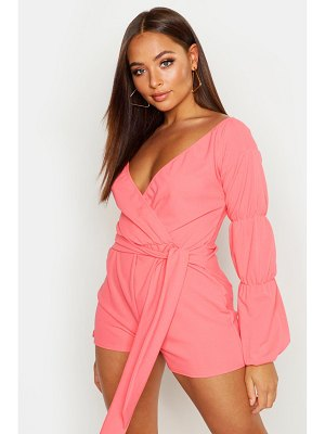 Boohoo Off The Shoulder Puff Sleeve Romper