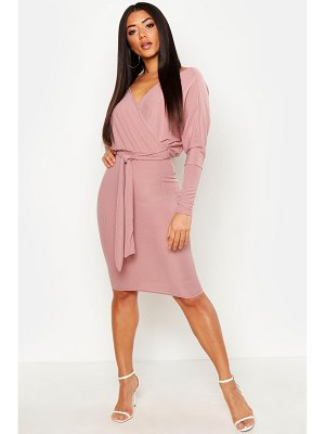 Boohoo Off The Shoulder Rib Belted Midi Dress