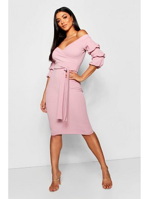 Boohoo Off the Shoulder Sleeve Detail Midi Dress