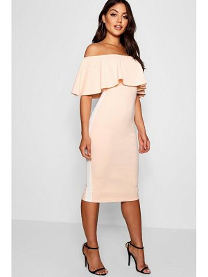 Boohoo Off the Shoulder Sports Stripe Midi Dress