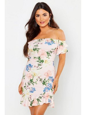 Boohoo Off The Shoulder Tie Back Bodycon Dress