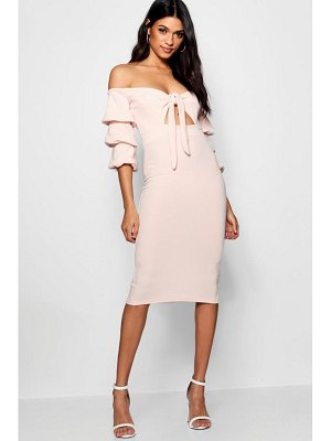 Boohoo Off the Shoulder Tie Front Midi Dress