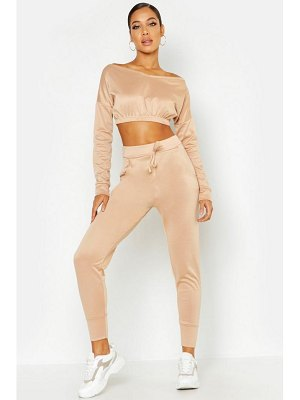 Boohoo Off The Shoulder Tracksuit Set