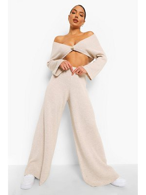 Boohoo Off The Shoulder Wide Leg Knitted Co-Ord