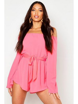 Boohoo Off The Shoulder Woven Romper