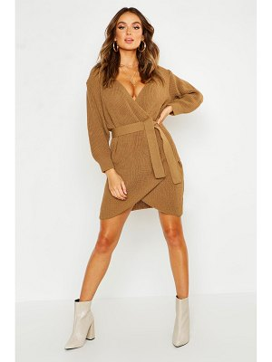 Boohoo Off The Shoulder Wrap Belted Knitted Dress